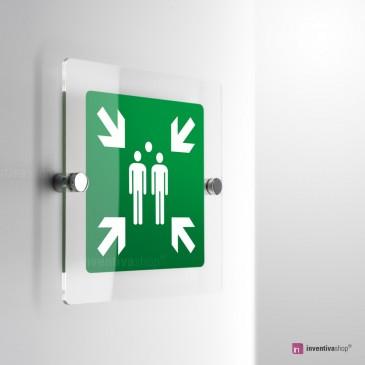 Cartello Plex: Punto d'incontro evacuazione E007 monofacciale