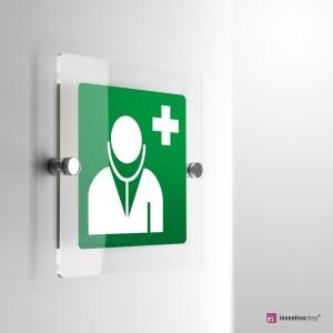 Cartello Plex: Medico d'emergenza E009 monofacciale