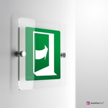 Cartello Plex: Porta con apertura a spinta lato destro E023 . Monofacciale Plexiglass. monofacciale
