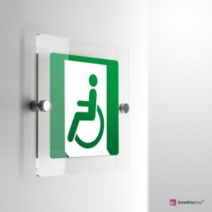 Cartello Plex: Uscita d'emergenza disabili E026/E030 monofacciale