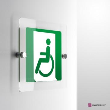 Cartello Plex: Uscita d'emergenza disabili a sinistra E026 . monofacciale