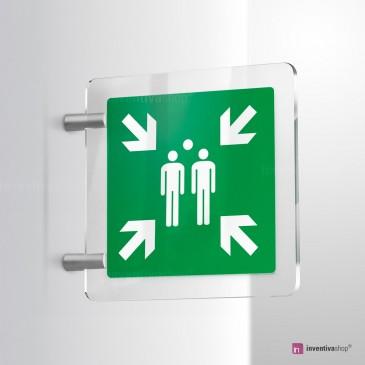 Cartello Plex: Punto d'incontro evacuazione E007 bifacciale