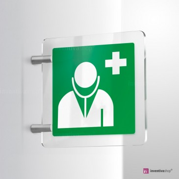 Cartello Plex: Medico d'emergenza E009 bifacciale