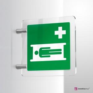 Cartello Plex: Barella d'emergenza E013 bifacciale