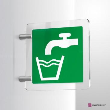 Cartello Plex: Acqua potabile E015 bifacciale