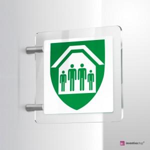 Cartello Plex: Rifugio d'emergenza E021 bifacciale