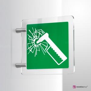 Cartello Plex: Martello d'emergenza E025 bifacciale