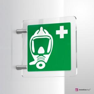 Cartello Plex: Autorespiratore d'emergenza E029 bifacciale
