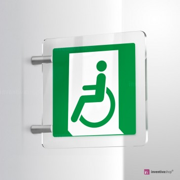Cartello Plex: Uscita d'emergenza disabili bifacciale