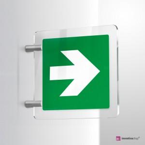 Cartello Plex: Freccia Evacuazione E005 - E006 bifacciale