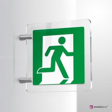 Cartello Plex: Uscita d'emergenza E001/E002 bifacciale