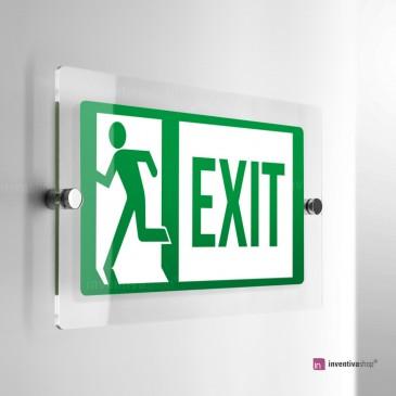 Cartello Plex: Direzionale uscita di emergenza monofacciale rettangolare in scala 2:1