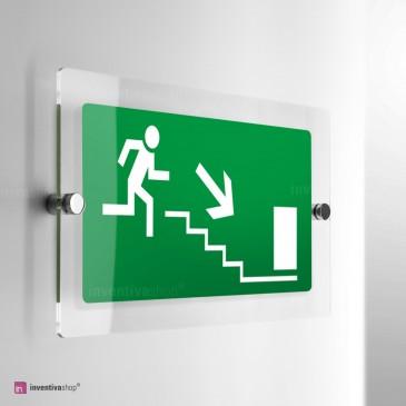 Cartello Plex: Uscita scale di emergenza monofacciale
