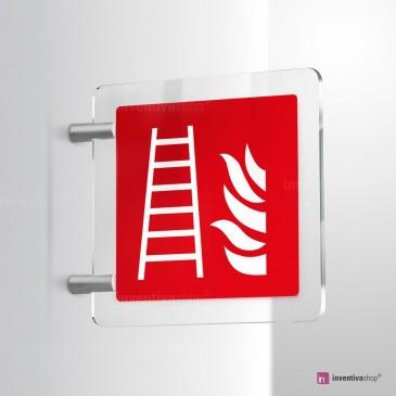 Cartello Plex: Scala antincendio F003 bifacciale