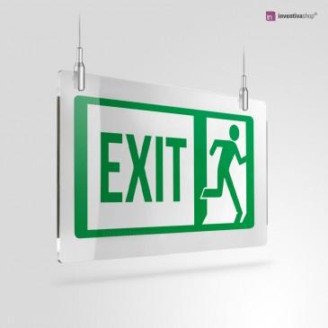 Cartello Plex: Scritta EXIT con omino a soffitto