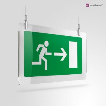 Cartello Plex: Uscita porta di emergenza rettangolare rapporto 2 a 1