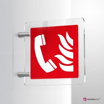 Cartello Plex: Telefono di emergenza antincendio F006 bifacciale