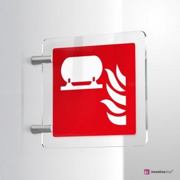 Cartello Plex: Installazione fissa antincendio F012 bifacciale