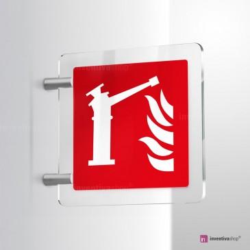 Cartello Plex: Spingarda antincendio F015 bifacciale