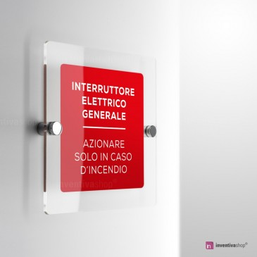 Cartello Plex: INTERRUTTORE ELETTRICO GENEREALE monofacciale