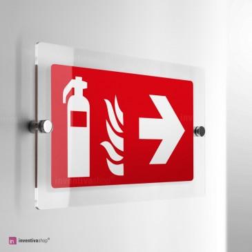 Cartello Plex: Estintore con freccia antincendio ISO monofacciale