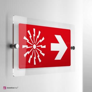 Cartello Plex: Allarme con freccia antincendio monofacciale