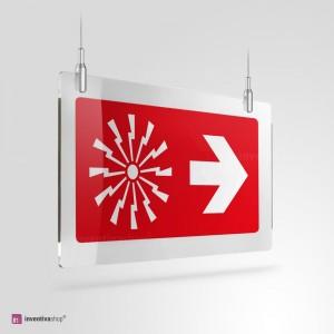 Cartello Plex: Allarme antincendio con freccia a soffitto