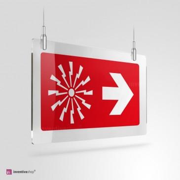 Cartello Plex: Allarme con freccia a soffitto