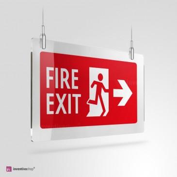 Cartello Uscita antincendio a soffitto