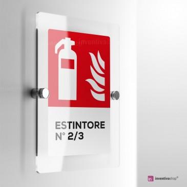 Cartello Plex: Antincendio estintore numerato
