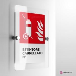 Cartello Plex: Antincendio estintore carrellato numerato