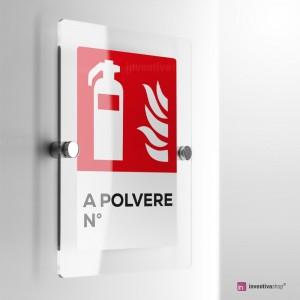 Cartello Plex: Antincendio estintore a polvere numerato