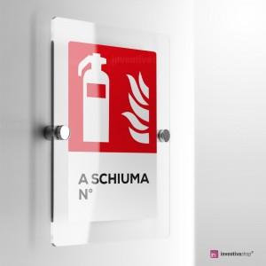 Cartello Plex: Antincendio estintore a schiuma numerato