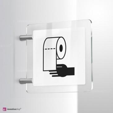 Cartello Plex: Carta mani bagno bifacciale