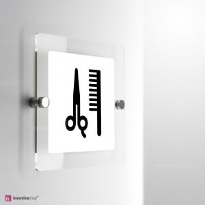 Cartello Plex: Salone barba e capelli monofacciale