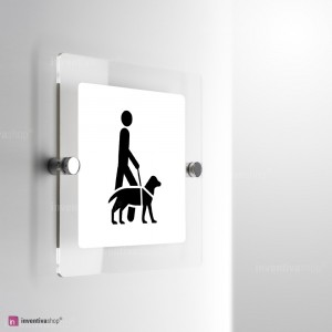 Cartello Plex: Accesso consentito ai cani da assistenza monofacciale