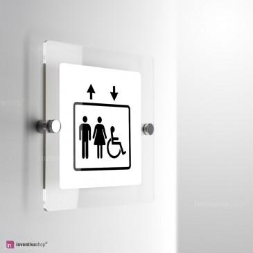 Cartello Plex: Ascensore Standard uomo donna handicap monofacciale