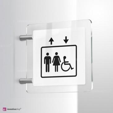 Cartello Plex: Ascensore Standard uomo donna handicap bifacciale