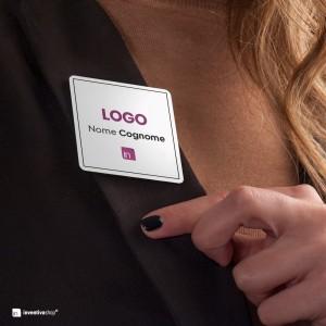 Targhetta Badge stampata: forma quadrata