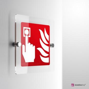 Cartello Plex: Pulsante allarme antincendio F005 monofacciale