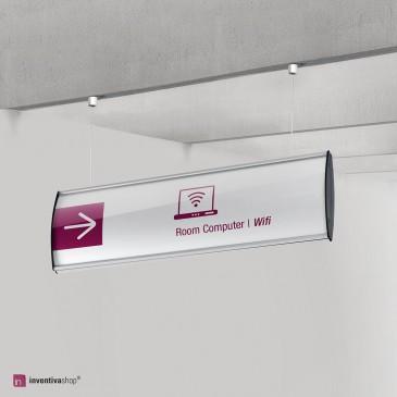 Segnaletica per edifici pubblici: Sign Round a soffitto bifacciale