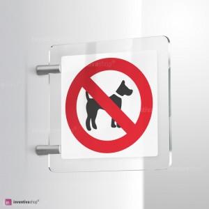 Cartello Plex: Vietato l'accesso ai cani bifacciale