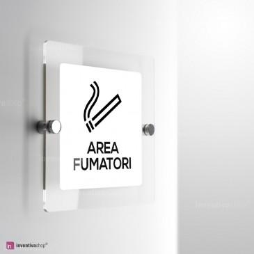 Cartello Area fumatori plex monofacciale a parete