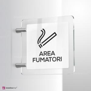Cartello Plex: Area fumatori bifacciale