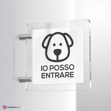 Cartello Plex: Accesso ai cani consentito bifacciale