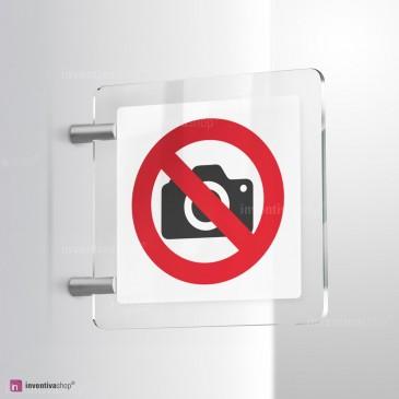 Cartello Plex: Vietato scattare fotografie bifacciale