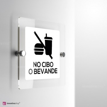 Cartello Plex: No cibo monofacciale a parete