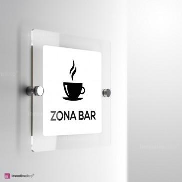 Cartello Plex: Zona bar monofacciale a parete