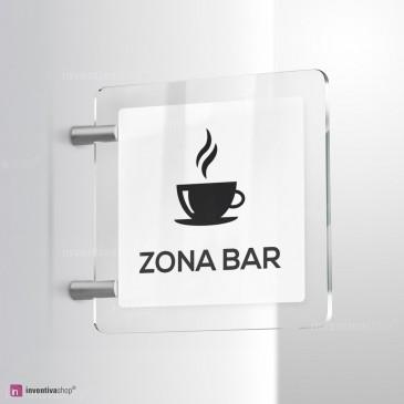 Cartello Plex: Zona Bar bifacciale