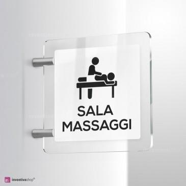 Cartello Plex: Sala massaggi bifacciale